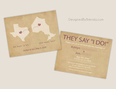 Vintage Style Wedding Invitation with Two States - Rustic Kraft Paper Look