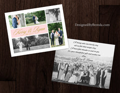 Wedding Thank You Card with Custom Photo Collage, Salmon Pink & Gold - Double Sided