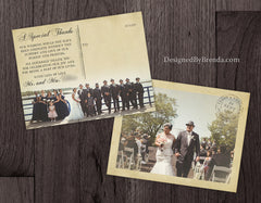 Vintage Wedding Thank You Postcards with Photo