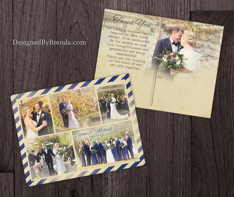 Nautical Style Wedding Thank Yous with Vintage Look - Navy Photo Collage with Anchor