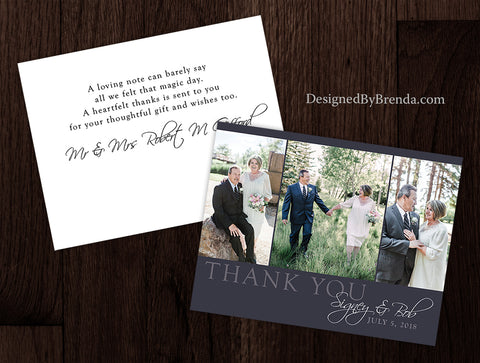 Modern Grey Wedding Thank You Postcard with Photo Trio
