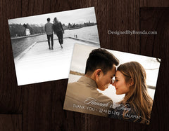Photo Wedding Thank You Card with Bilingual or Trilingual Message - One Photo