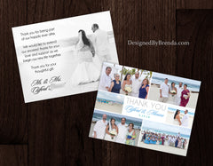 Modern Wedding Thank You Card with 6 Photos - Grey & Coral with Clean Lines