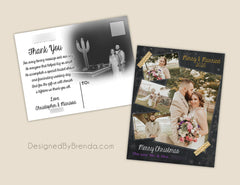 Combined Christmas Card and Wedding Thank You with Photos in Gold Chalkboard Collage