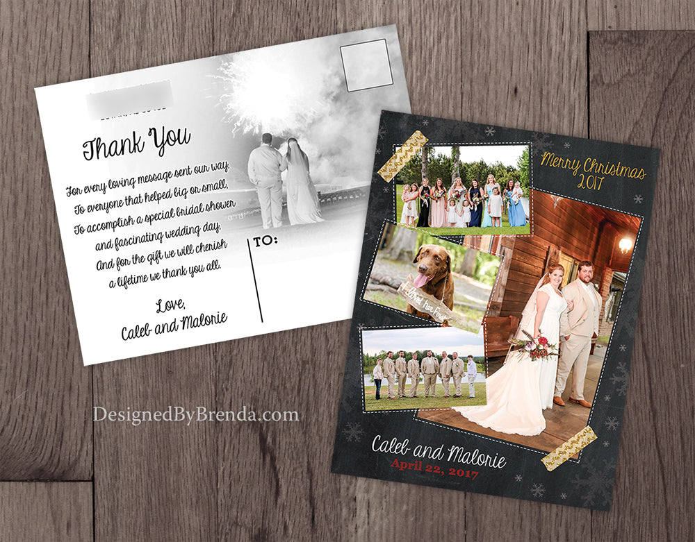 Wedding Thank You Christmas Card Combined