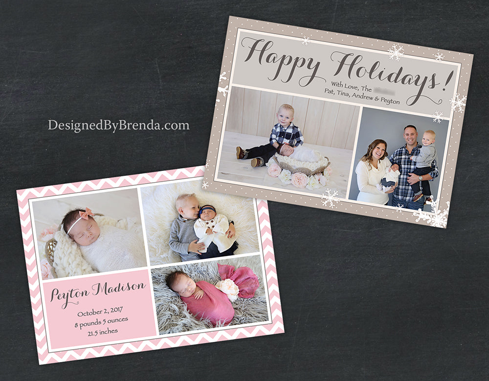 Combined Holiday Card And Birth Announcement With Photos On Both Sides    Tan, Brown U0026