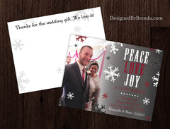 Peace, LOVE, Joy - Combined Holiday Card and Christmas Card with Photo