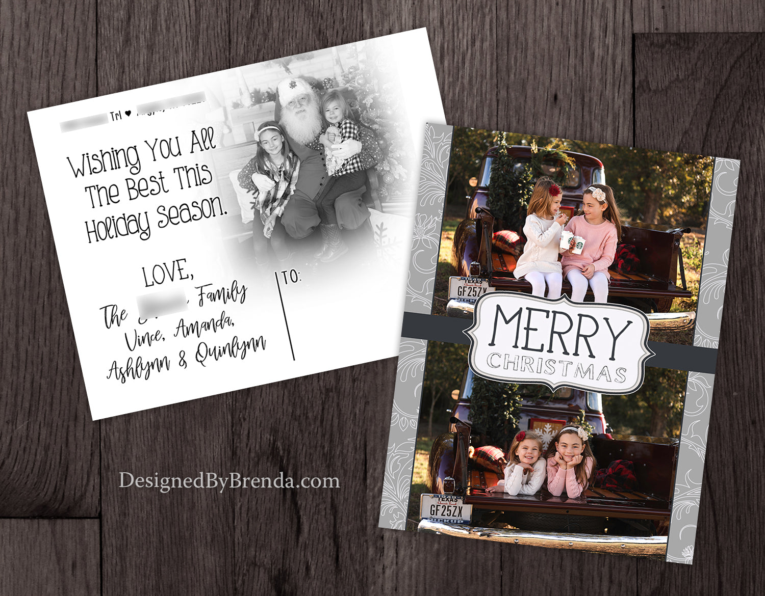 Merry Christmas, Double Sided Card with 2 Photos - Grey Floral Whimsy