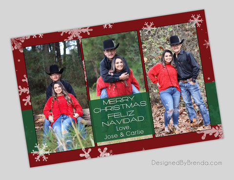 Bilingual Red & Green Holiday Card with Photos - Merry Christmas & Feliz Navidad