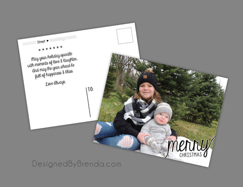 Modern Christmas Card with Photo and Fun, Cursive Typography - Double Sided