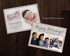 Combined Holiday Card and Birth Announcement with Photos on Both Sides - Tan, Brown & White Snowflakes