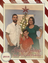 Vintage Stripes Holiday Photo Postcard with Border