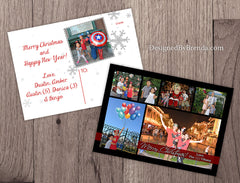 Double Sided Holiday Card with Photo Collage - Modern Feel with Multiple Pictures