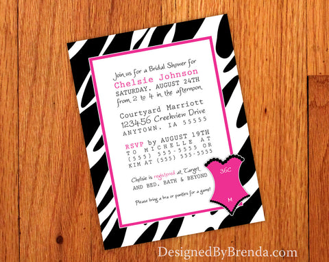 Zebra Print Bridal Shower Invitation with Lingerie Sizing