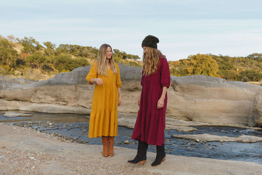 Together Segal Amy & Melissa Wearing Day Dress in Winter, Pedernales Falls, Austin, TX