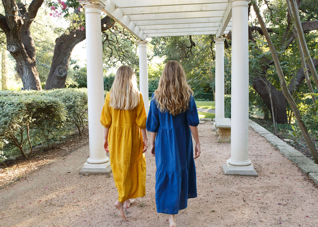 Together Segal Founders Amy & Melissa Wearing Day Dress in Laguna Gloria, Austin TX