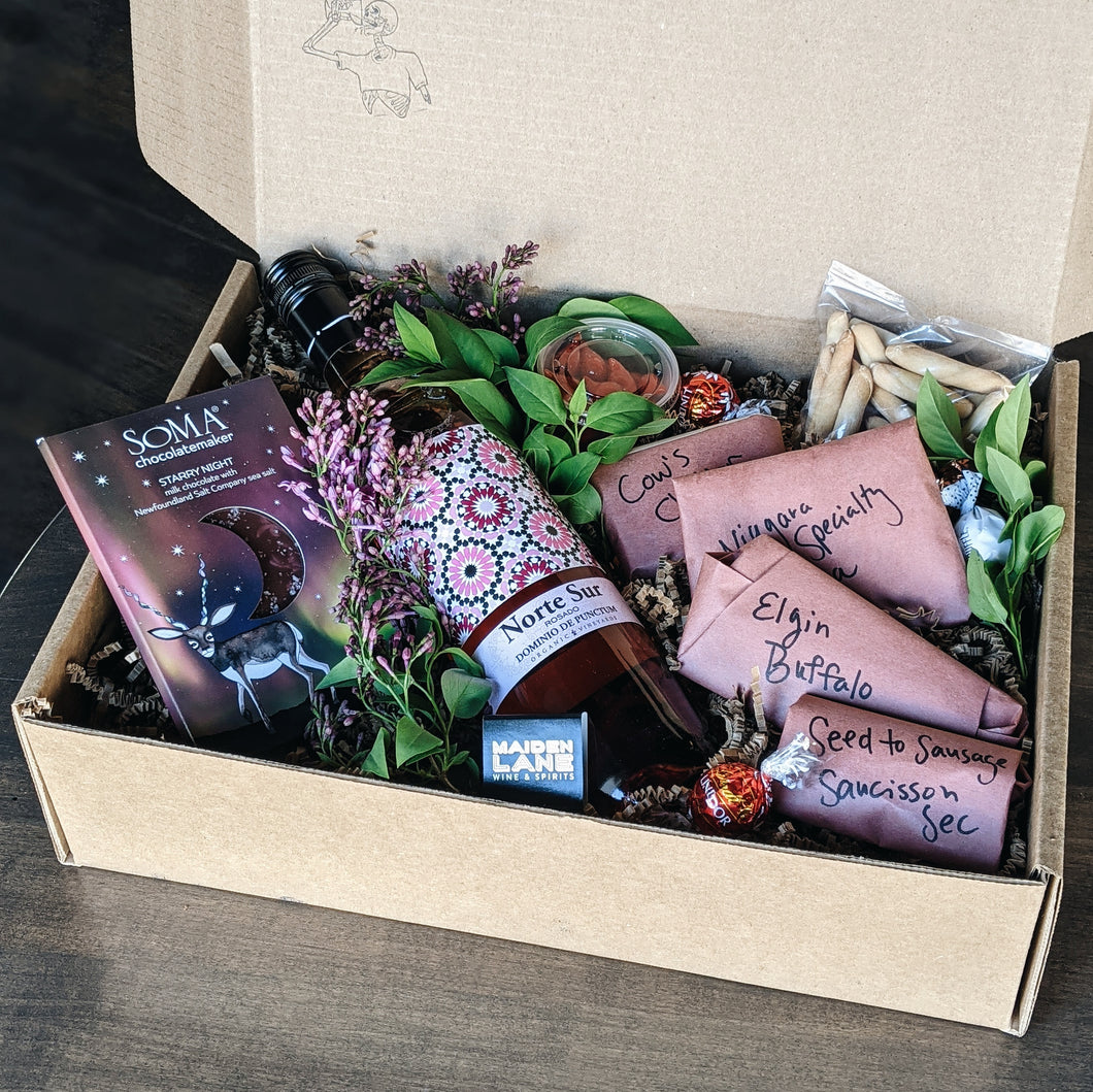 Wine, Cheese, Chocolate and Charcuterie Gift Box