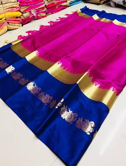 Didi Pink & Blue Pretty Soft Cotton Silk Saree With Blouse Piece ( Duck-Pink-Blue )