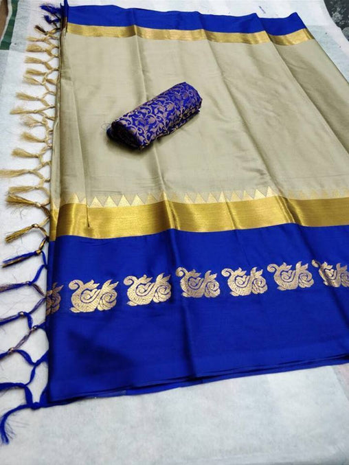Didi Chiku & Blue Innovative Soft Cotton Silk Saree With Blouse Piece ( Duck-Chiku-Blue )
