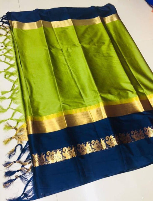 Didi Green & Navy Blue Dashing Soft Cotton Silk Saree With Blouse Piece ( Duck-Green-NavyBlue )