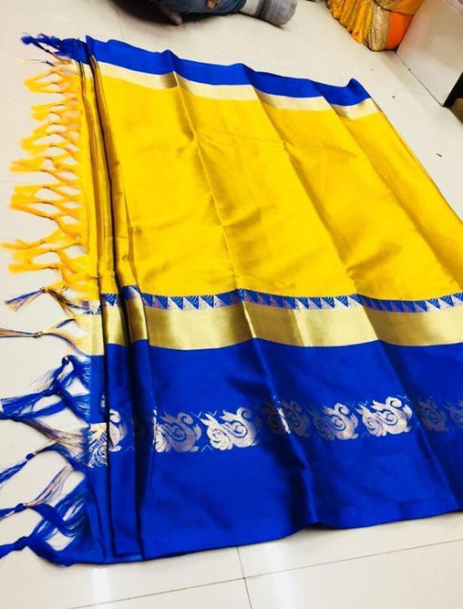 Didi Yellow & Blue Graceful Soft Cotton Silk Saree With Blouse Piece ( Duck-Yellow-Blue )