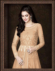 BEAUTIFUL BEIGE COLOUR MELBOURNE WORK AND STONE WORK ANARKALI DRESS