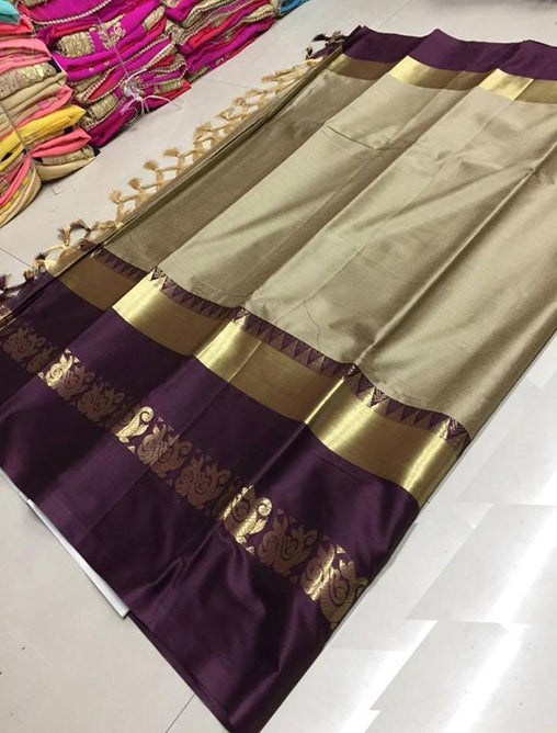 Didi Chiku & Brown Pleasant Soft Cotton Silk Saree With Blouse Piece ( Duck-Chiku-Brown )