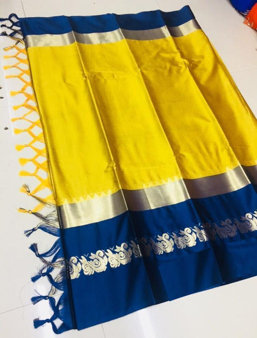 Didi Yellow & Blue Elegant Soft Cotton Silk Saree With Blouse Piece ( Duck-Yellow-Blue )