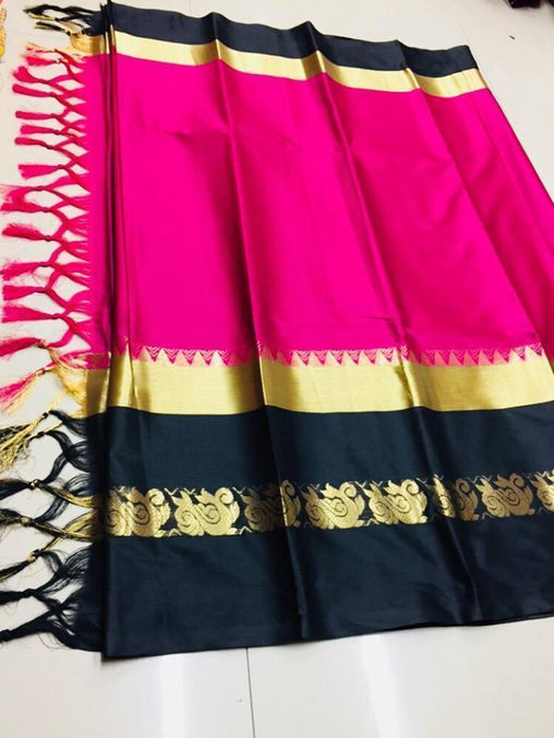 Didi Pink & Black Glamours Soft Cotton Silk Saree With Blouse Piece ( Duck-Pink-Black )