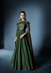 Navya Green Designer Anarkali dress with heavy Embroidery Weeding wear