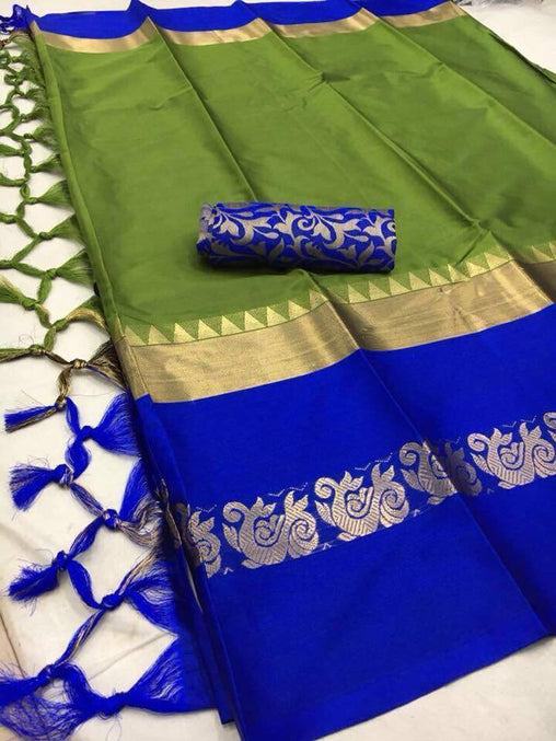 Didi Green & Blue Impressive Soft Cotton Silk Saree With Blouse Piece ( Duck-Green-Blue )