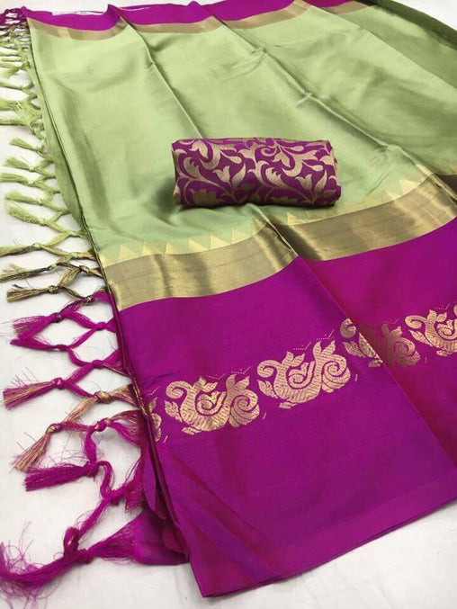 Didi Green & Pink Designer Soft Cotton Silk Saree With Blouse Piece ( Duck-Green-Pink )