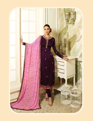 Purple COLOUR Satin GEORGETTE WITH EMBROIDERY WORK  DRESS