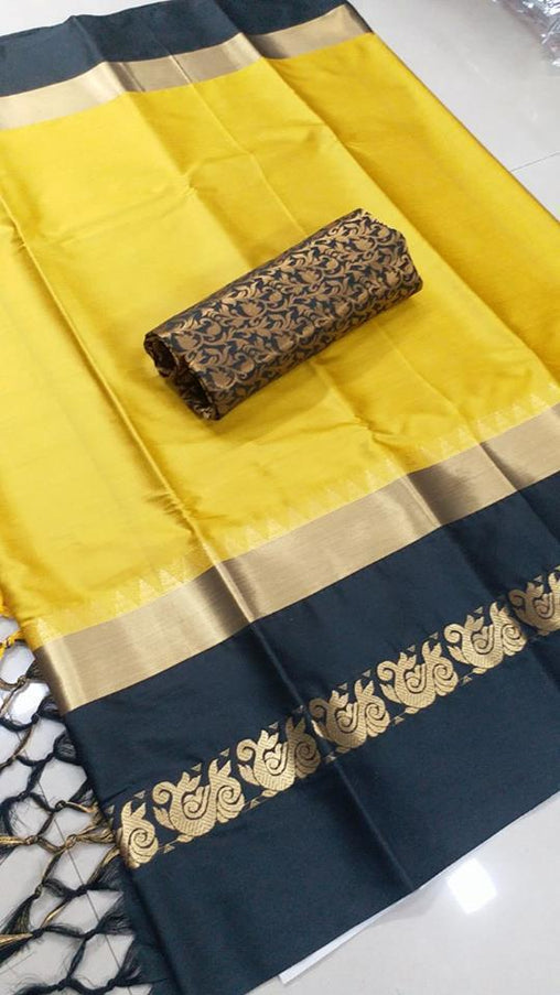 Didi Yellow & Black Attractive Soft Cotton Silk Saree With Blouse Piece ( Duck-Yellow-Black )