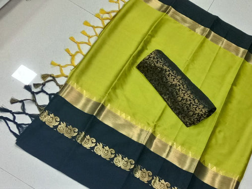 Didi Green & Black Innovative Soft Cotton Silk Saree With Blouse Piece ( Duck-Green-Black )