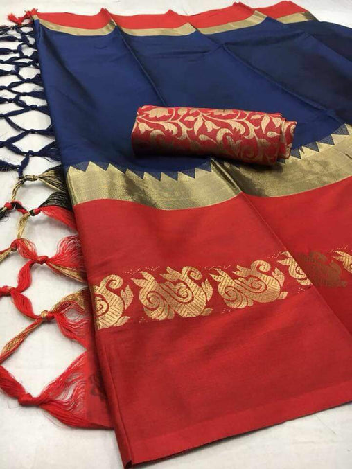 Didi Navy Blue & Red Unique Soft Cotton Silk Saree With Blouse Piece ( Duck-Navy-Blue-Red )