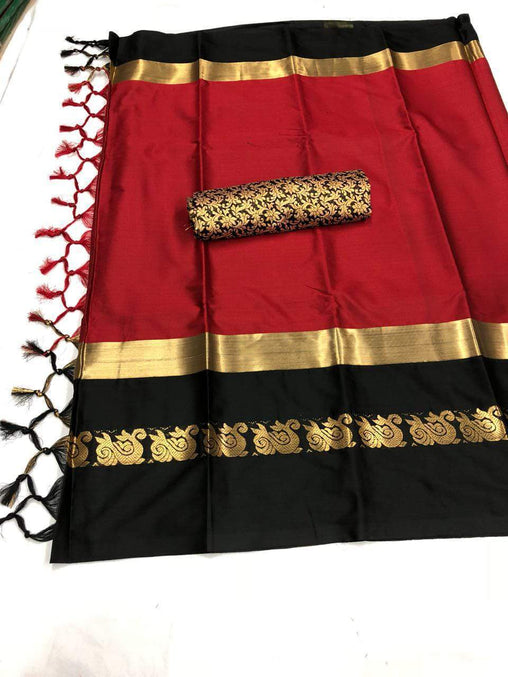 Didi Red & Black Elegant Soft Cotton Silk Saree With Blouse Piece ( Duck-Red-Black )