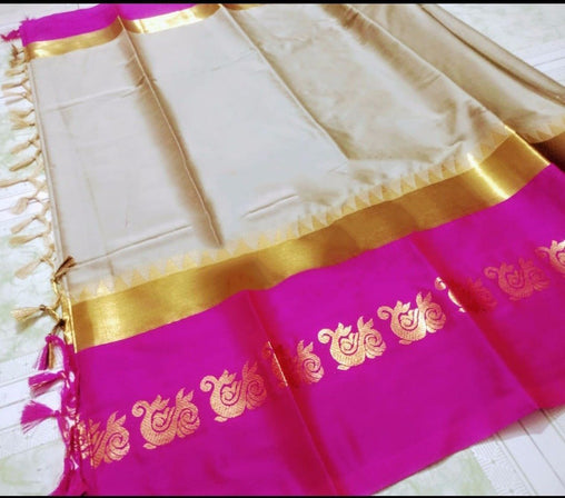 Didi Cream & Pink Refreshing Soft Cotton Silk Saree With Blouse Piece ( Duck-Cream-Pink )