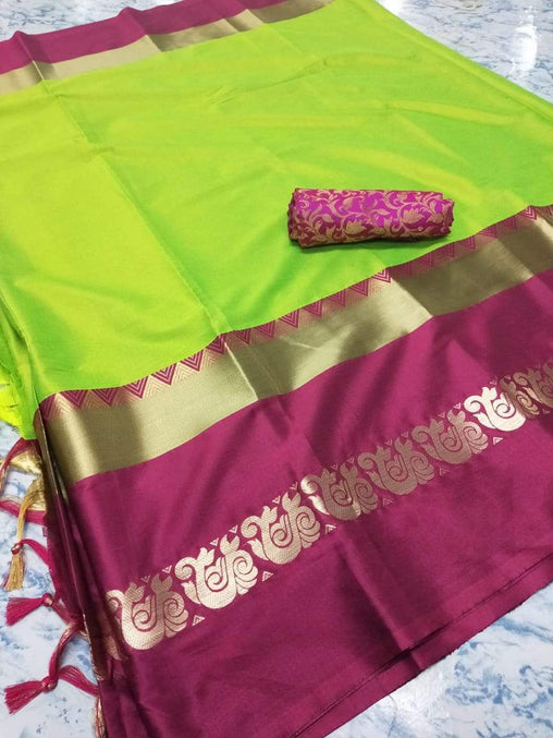 Didi Green & Pink Adoring Soft Cotton Silk Saree With Blouse Piece ( Duck-Green-Pink )