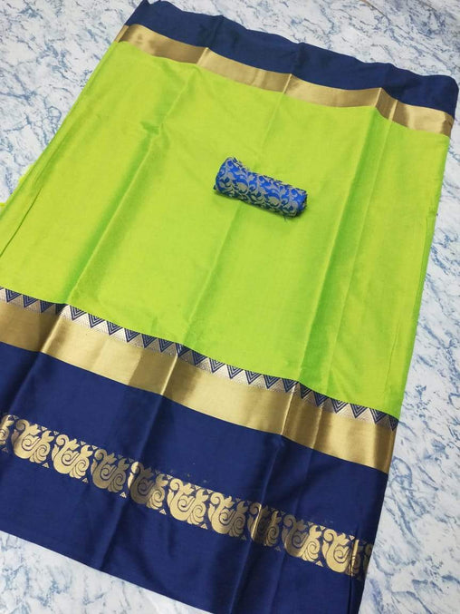 Didi Lemon & Navy Blue Delightful Soft Cotton Silk Saree With Blouse Piece ( Duck-Lemon-Blue )