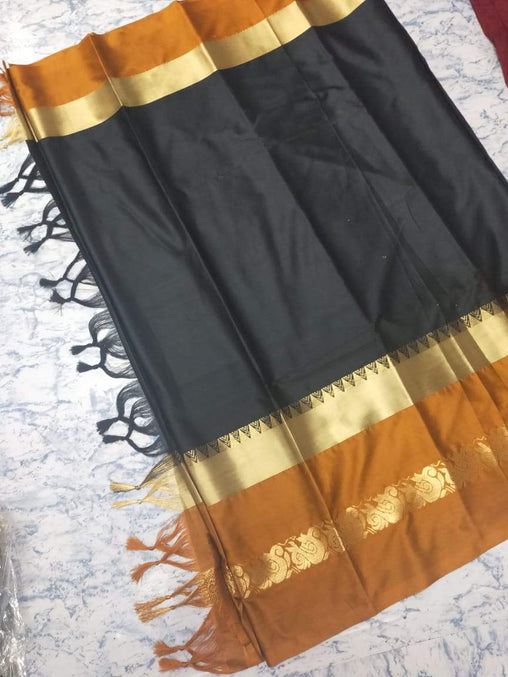 Didi Black & Brown Glowing Soft Cotton Silk Saree With Blouse Piece ( Duck-Black-Brown )