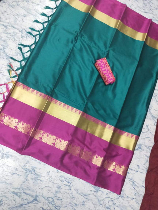 Didi Green & Magenta Marvelous Soft Cotton Silk Saree With Blouse Piece ( Duck-Green-Magenata )