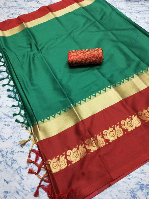 Didi Rama & Red Exclusive Soft Cotton Silk Saree With Blouse Piece ( Duck-Rama-Red )