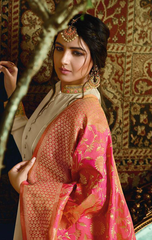 TRADITIONAL COLLECTION WEDDING WEAR BANARASI SILK SANTOON ANARKALI DRESS