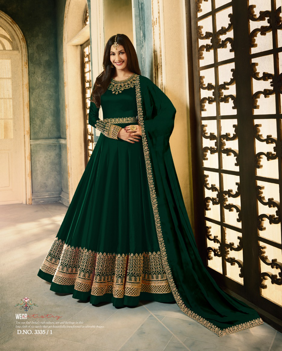 GREEN COLOUR EMBROIDERED GHERA PARTY WEAR ANARKALI DRESS