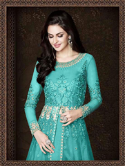 BEAUTIFUL SKY BLUE COLOUR MELBOURNE WORK AND STONE WORK ANARKALI DRESS