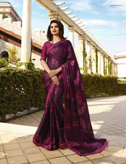 NEW DESIGNER PURPLE COLOR GEORGETTE PRINTED PARTY WEAR SAREE