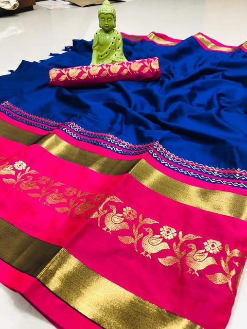 Didi Blue & Pink Exclusive Soft Cotton Silk Saree With Blouse Piece ( Chidiya-Blue-Pink )
