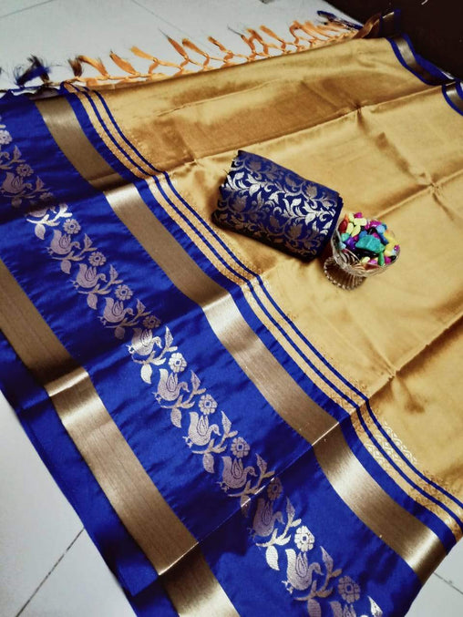 Didi Cream & Blue Pleasurable Soft Cotton Silk Saree With Blouse Piece ( Chidiya-Cream-Blue )