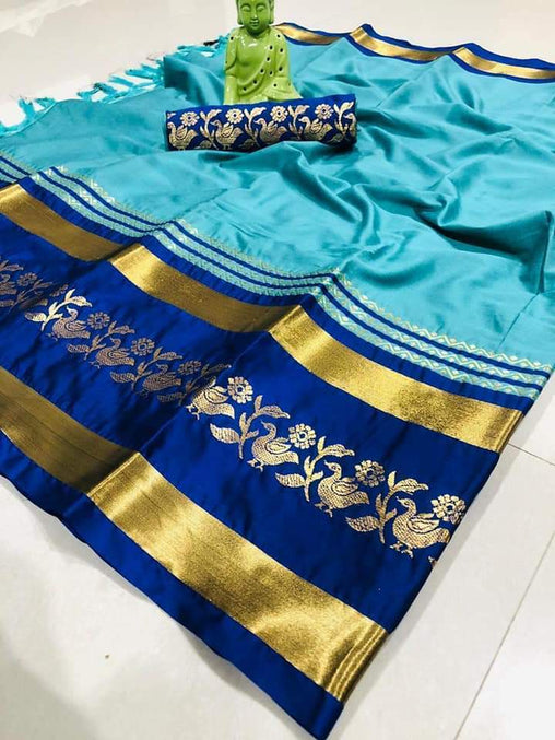Didi Ferozi & Blue Stunning Soft Cotton Silk Saree With Blouse Piece ( Chidiya-Ferozi-Blue )